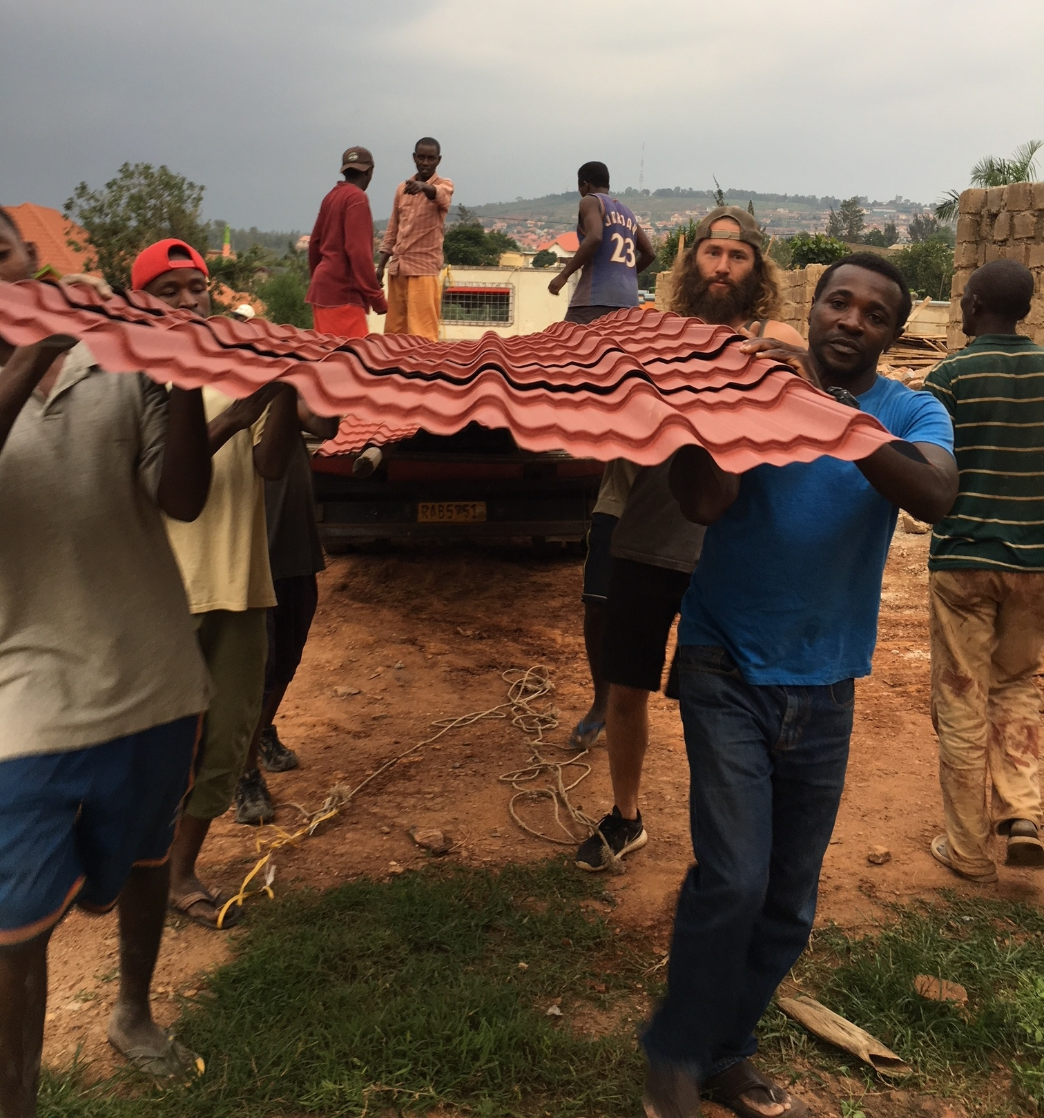 Unloading the metal roofing sheets