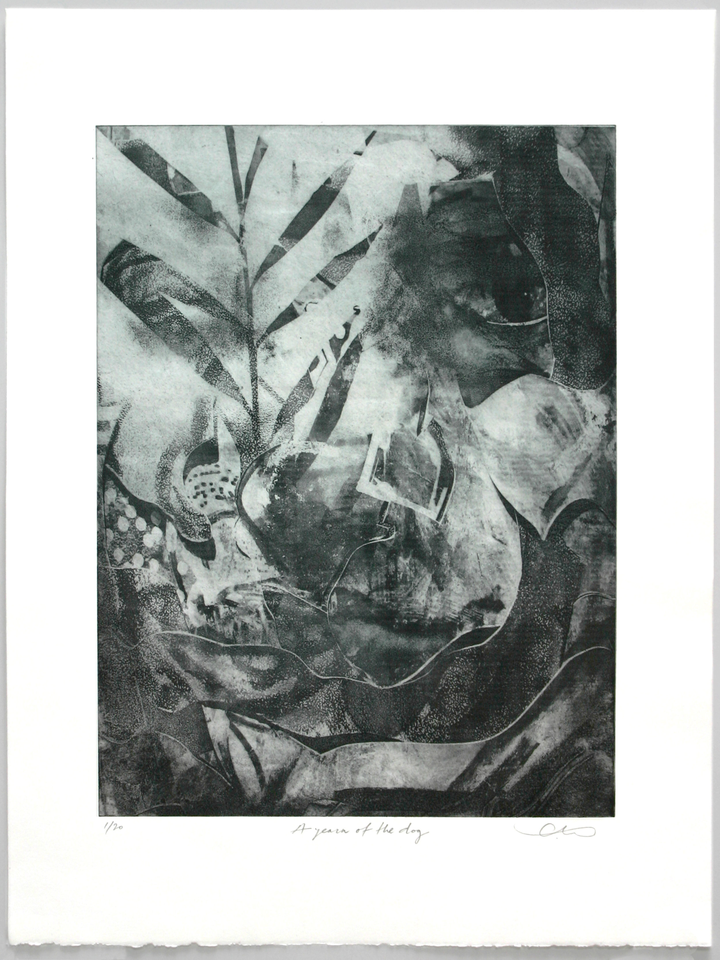 """""""A Yearn of the Dog""""   Slavko Djuric  Solarplate etching with debossment plate"""
