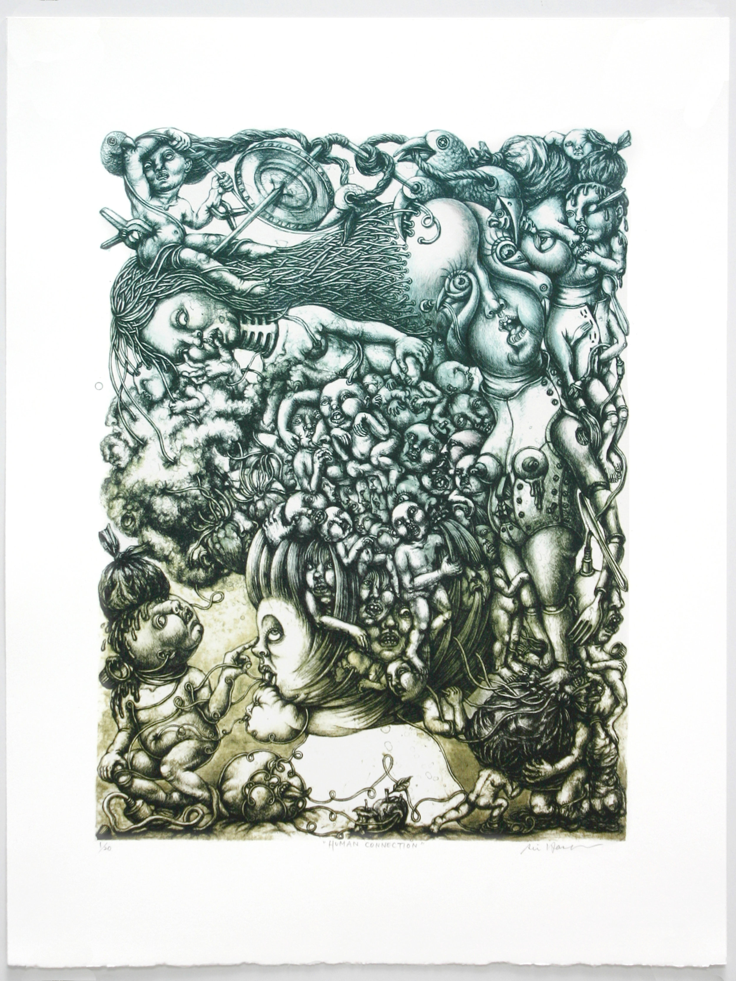 """""""Human Connection""""   Rie Hasegawa  Stone and Plate Lithograph"""