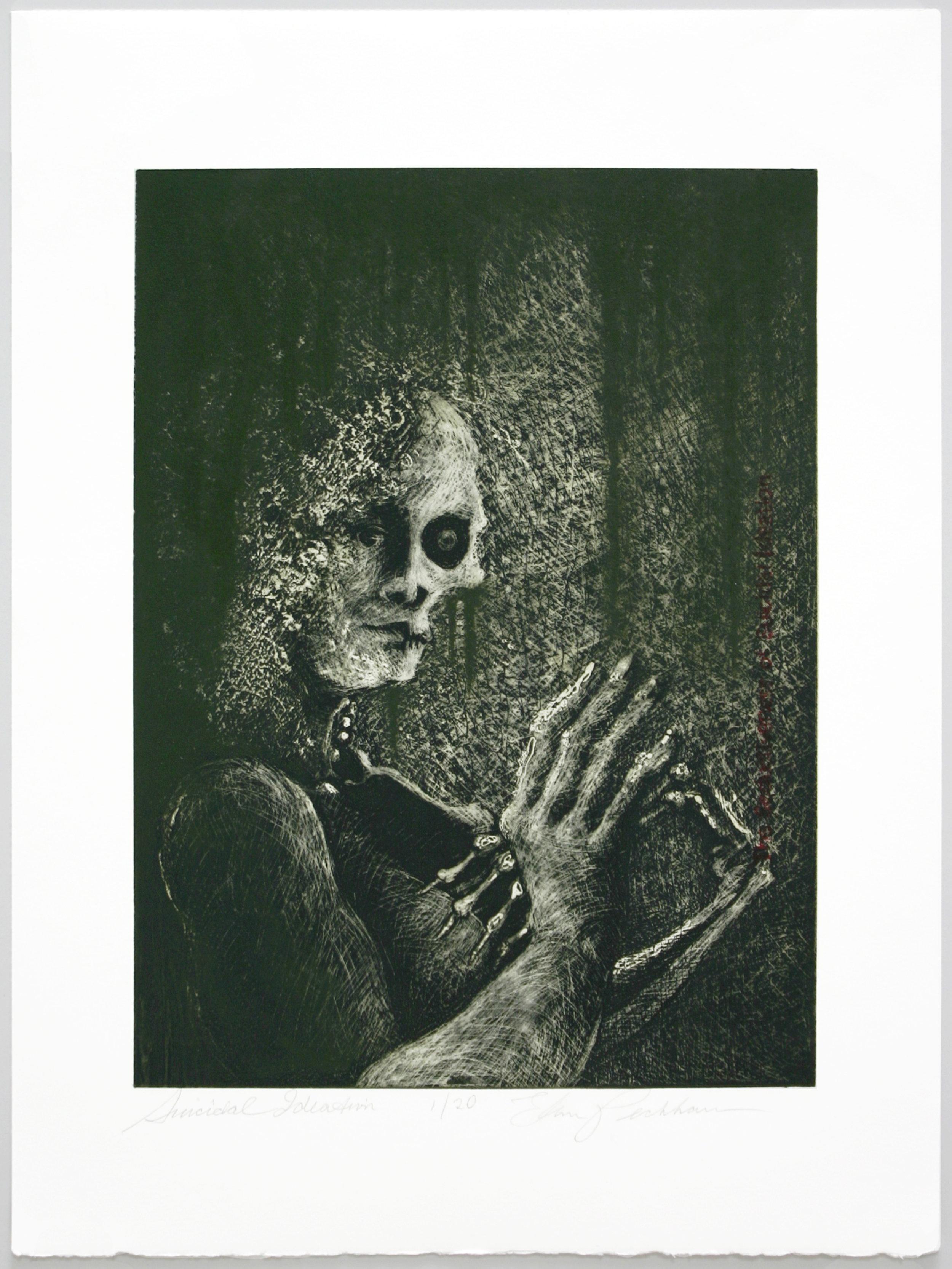 """Suicidal Ideation""   Ellen Peckham  Solarplate etching"