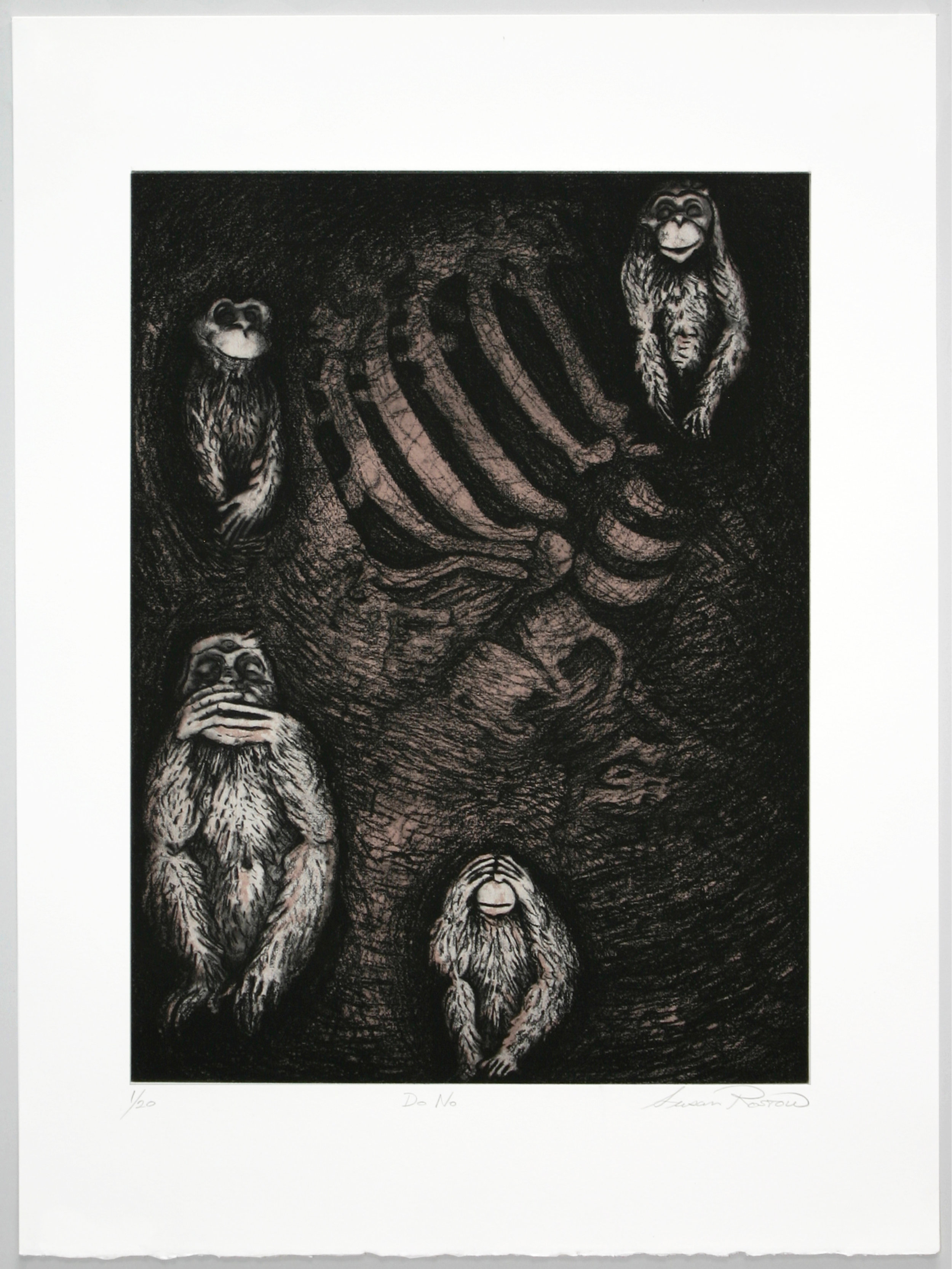 """""""Do No""""   Susan Rostow  Two plate solarplate etching with carborundum"""