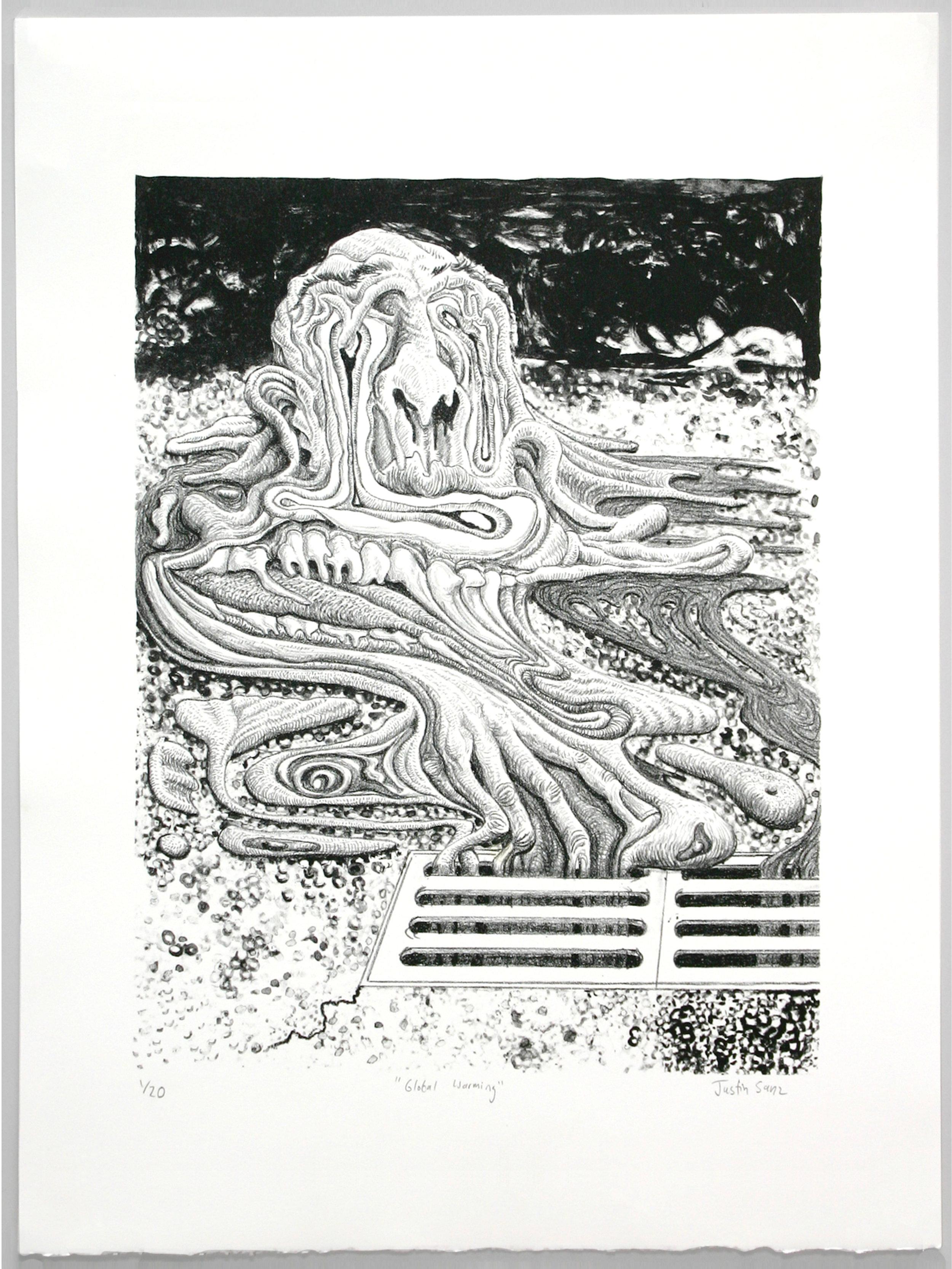 """Global Warming""   Justin Sanz  Stone lithograph"