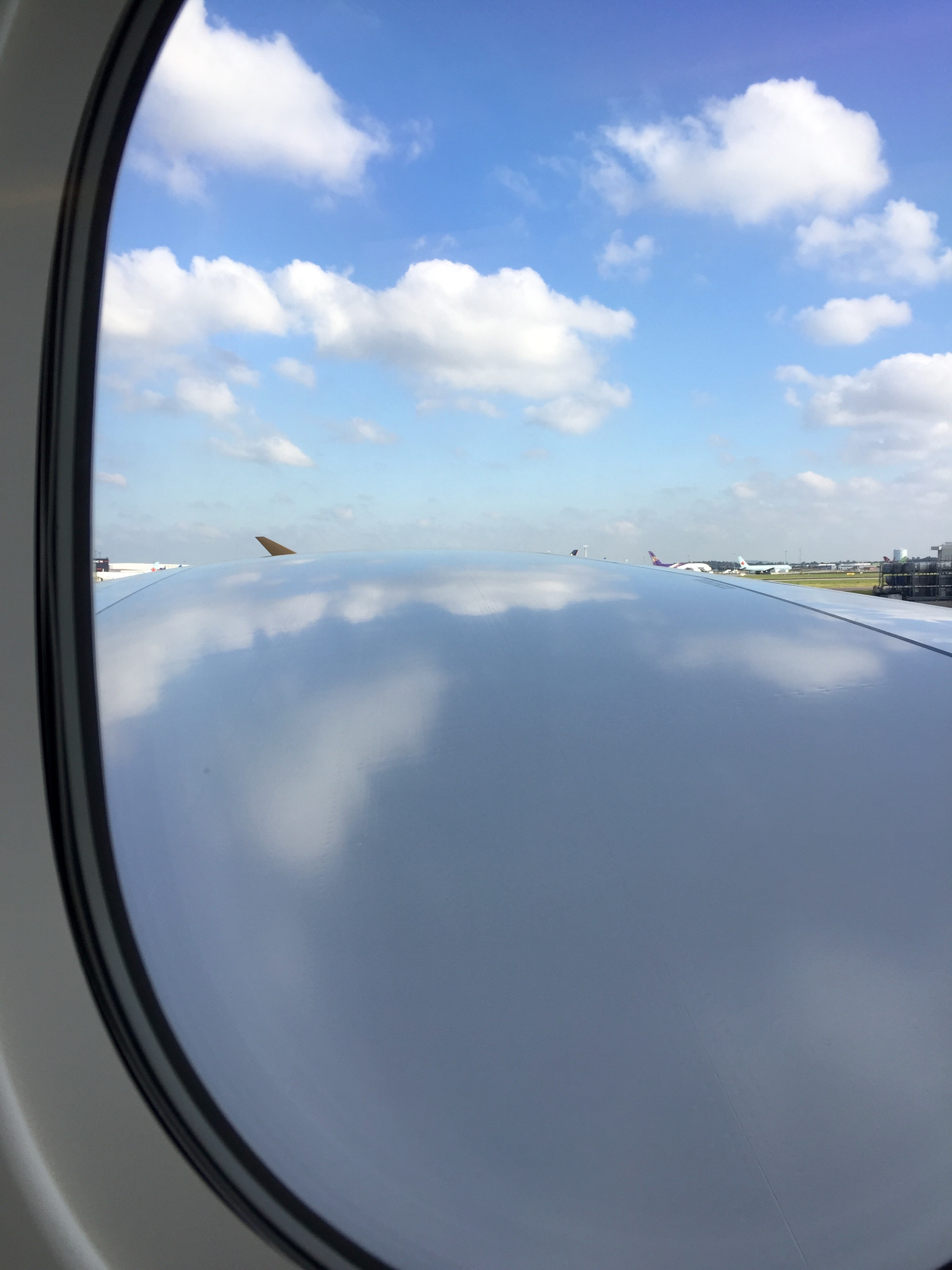 When the plane's wing is so long it's hard to see the end of it!