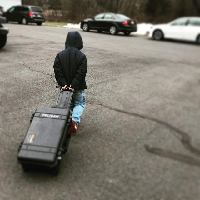My five year old was my assistant rolling the #pelicancase for the second half of the day filming at our local first aid squad.