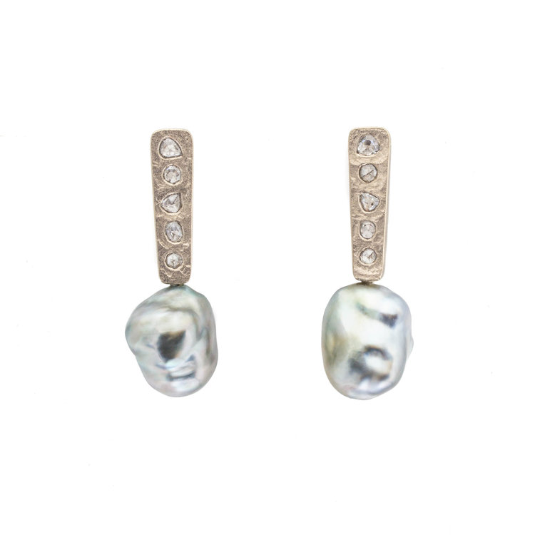 Large Keshi Pearl Post Dangle Earrings with Salt And Pepper Diamonds in 18k Palladium White Gold