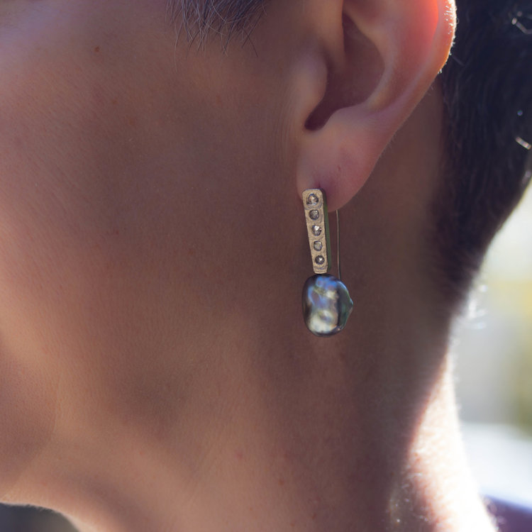 Large Keshi Pearl Post Dangle Earrings with Salt And Pepper Diamonds in 18k Palladium White Gold
