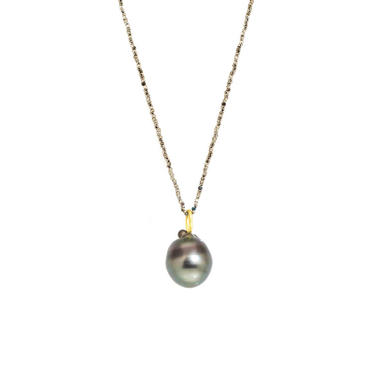 Black Tahitian Drop Pendant with 18k Yellow Gold and Shown on a Steel Cut Beaded Chain