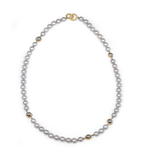 Pearl & Ball Bearing Necklace in 18k and 22k Gold