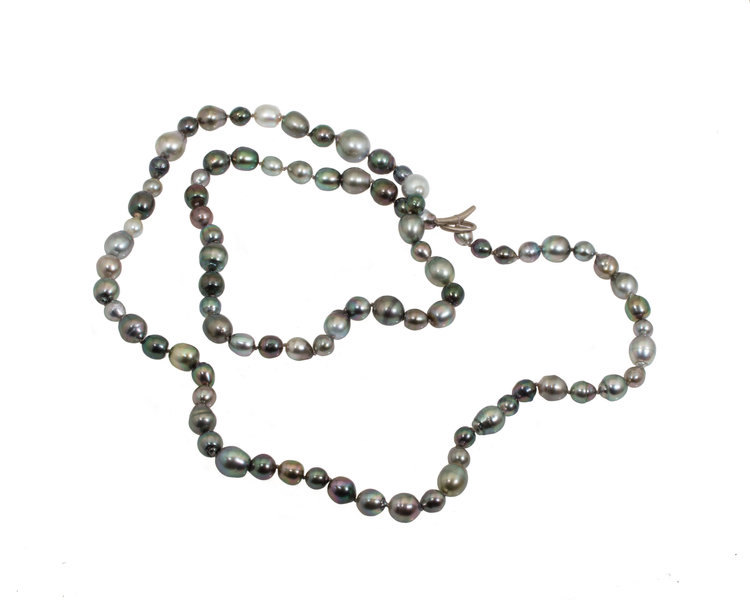 Natural Tahitian Baroque Pearls with 18K Palladium White Gold Toggle Clasp