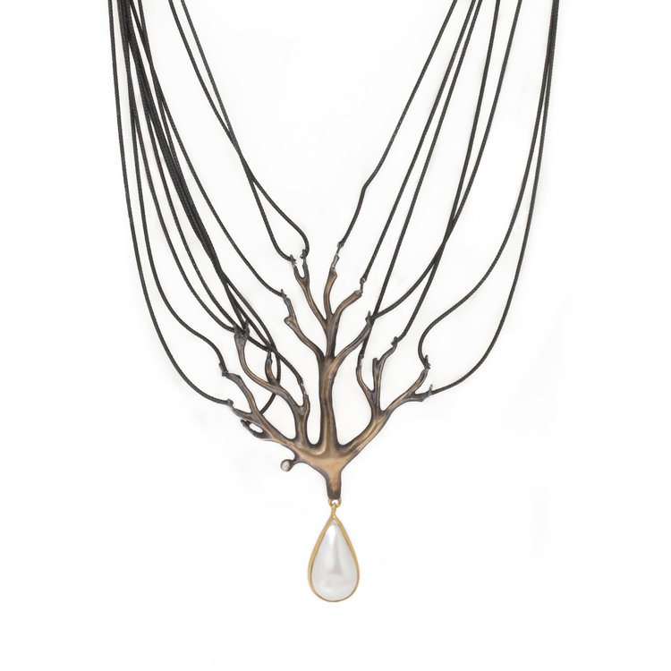Pearl Tree Drop Necklace in Bronze with Mabe Pearl