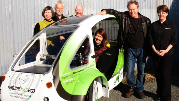 With the first ELF sold in New Zealand are Motueka owners, from left, Petra Stephenson, Andrew Stephenson, Andy Lowe, Gabrielle Bell, Duncan Abrey, and Jody Lowe.