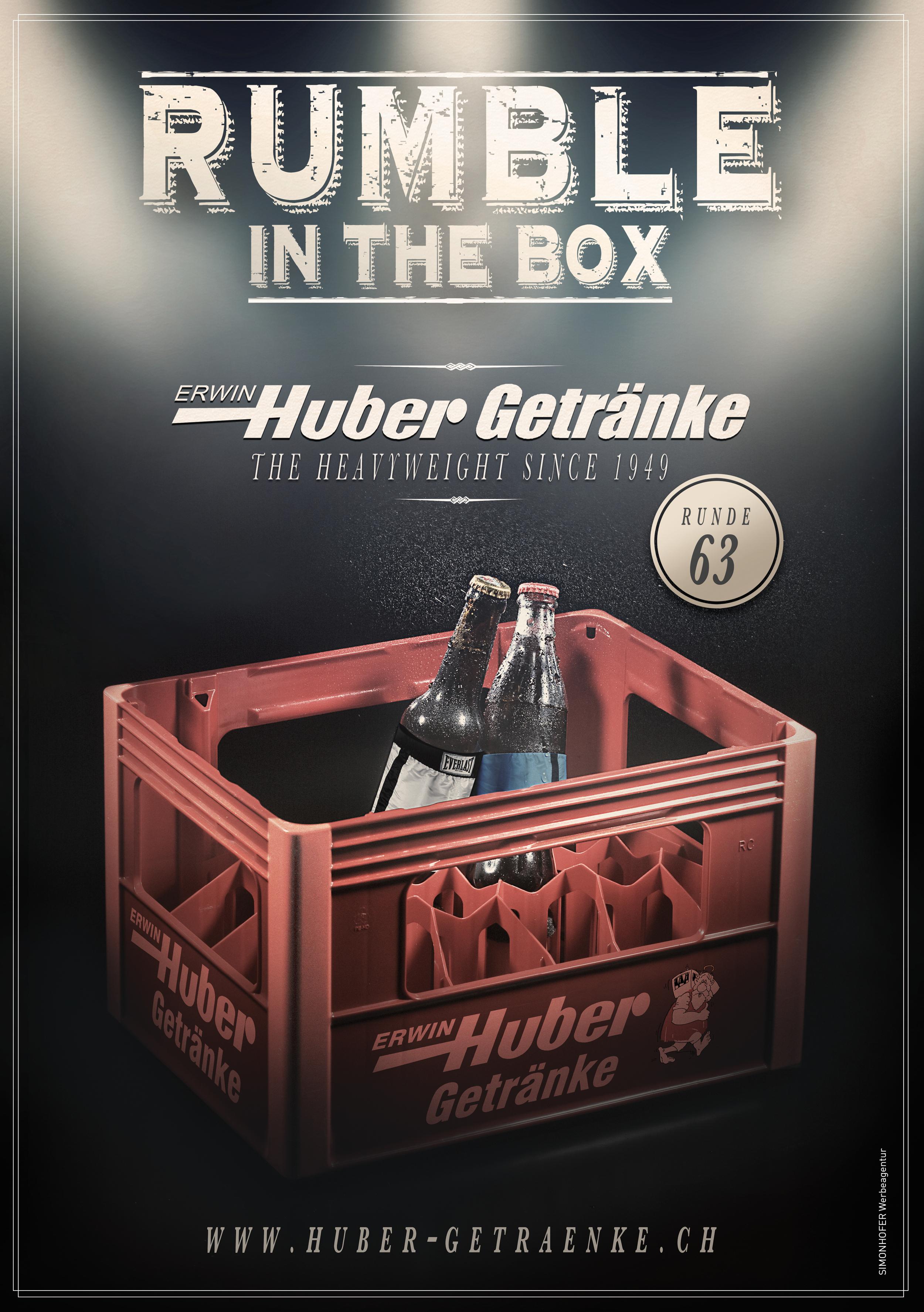 Inserat und Einladung für Erwin Huber Getränke Zürich