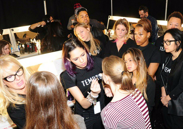 backstage at BCBG NYFW with Val Garland