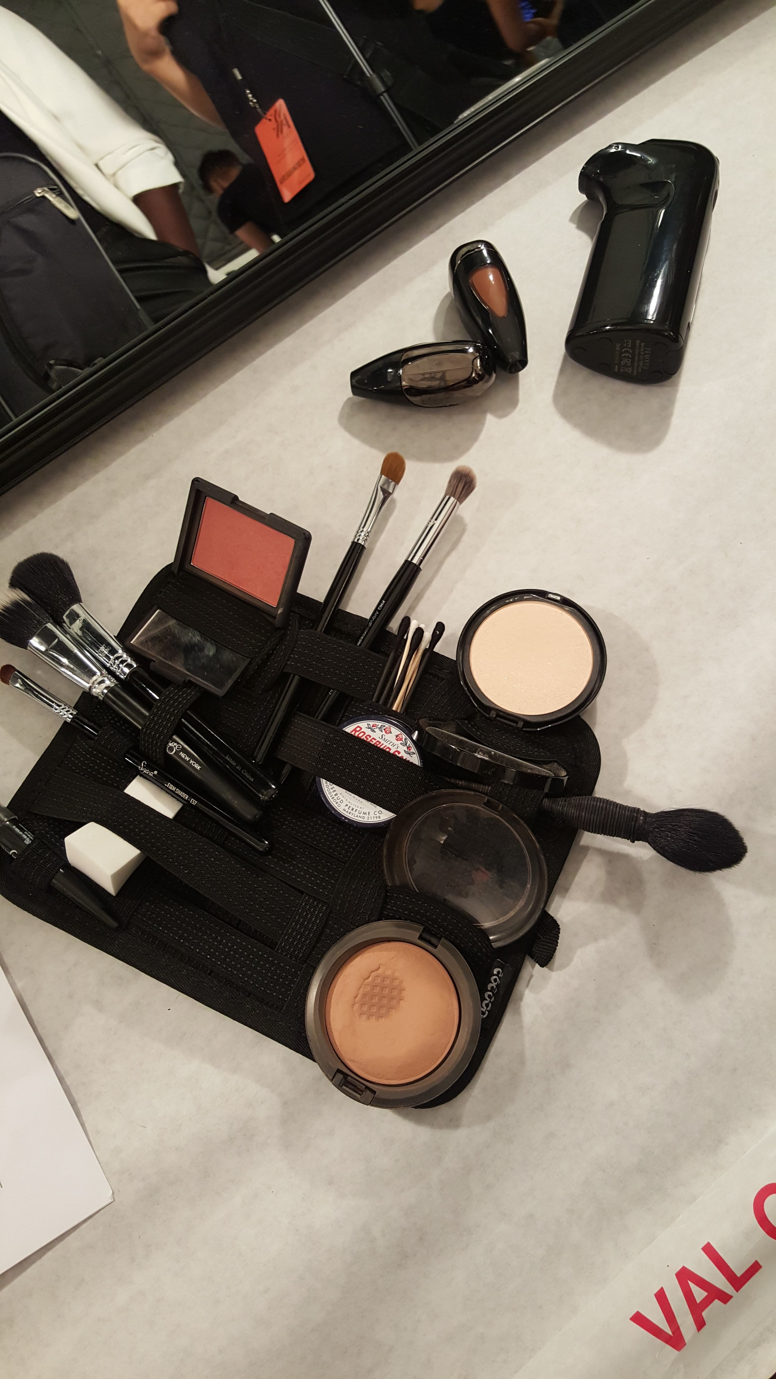 Touch up kit backstage at BCBG NYFW - per Val Garland's suggestion from Mastered Class