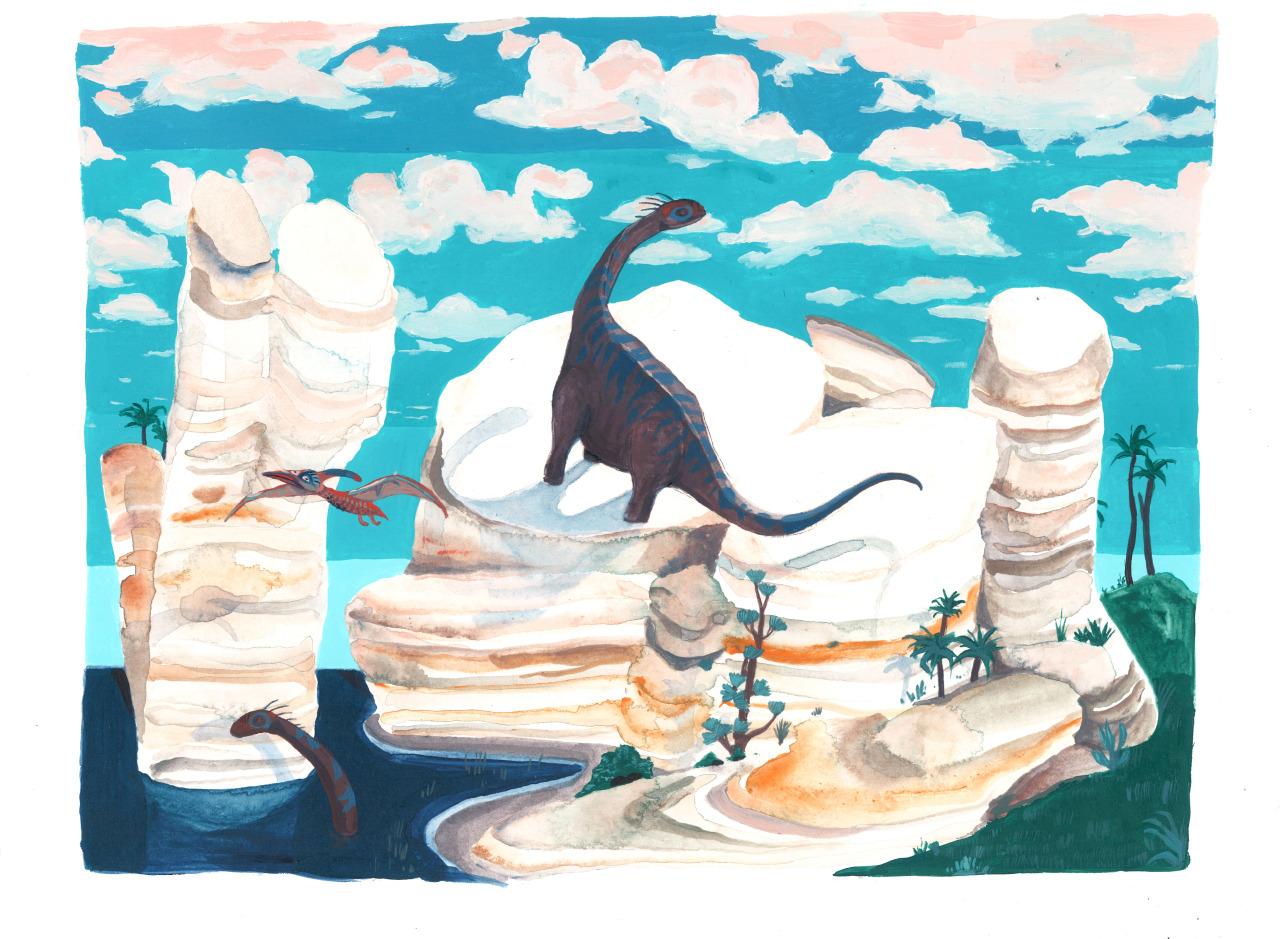 Brontosaurus on Cliff
