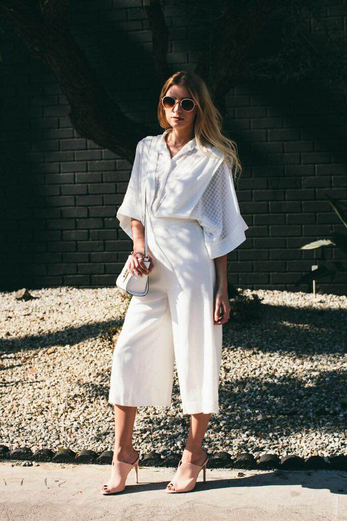 Shirt: The Fifth, Jumpsuit: Forever 21 Heeled Mules: Asos, Bag: Asos, Sunnies: Forever 21, Rings: Asos