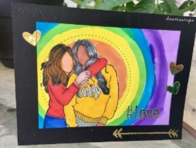 # love , Unity Gals, by Unity Stamp Company, Watercolor background on Neenah Solar white, image colored with Copics, Die cut with Fun Stampers Journey Nesting circles and hearts and sentiment foiled in gold on Minc paper.