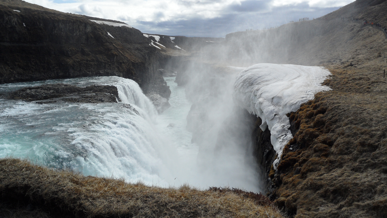 Gulfoss waterfall, abutted with frozen spray.