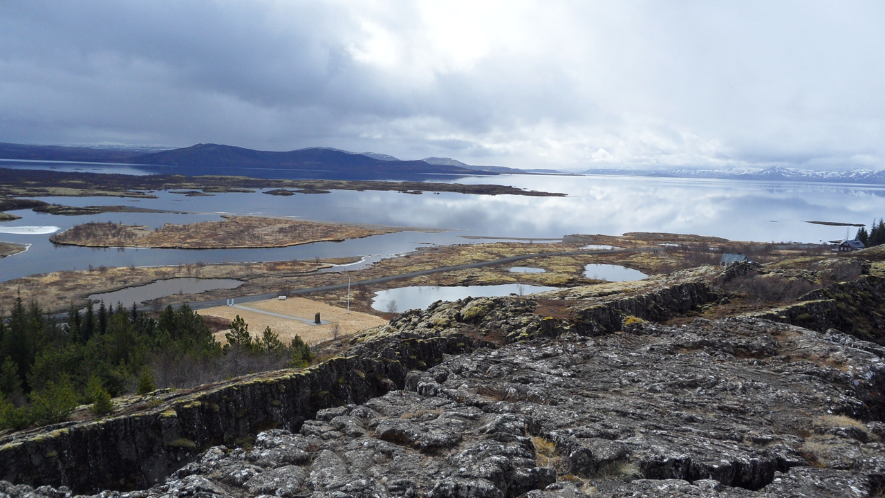 Now we're at  the  crack in the earth at Þingvellir. We're about to get rained on.