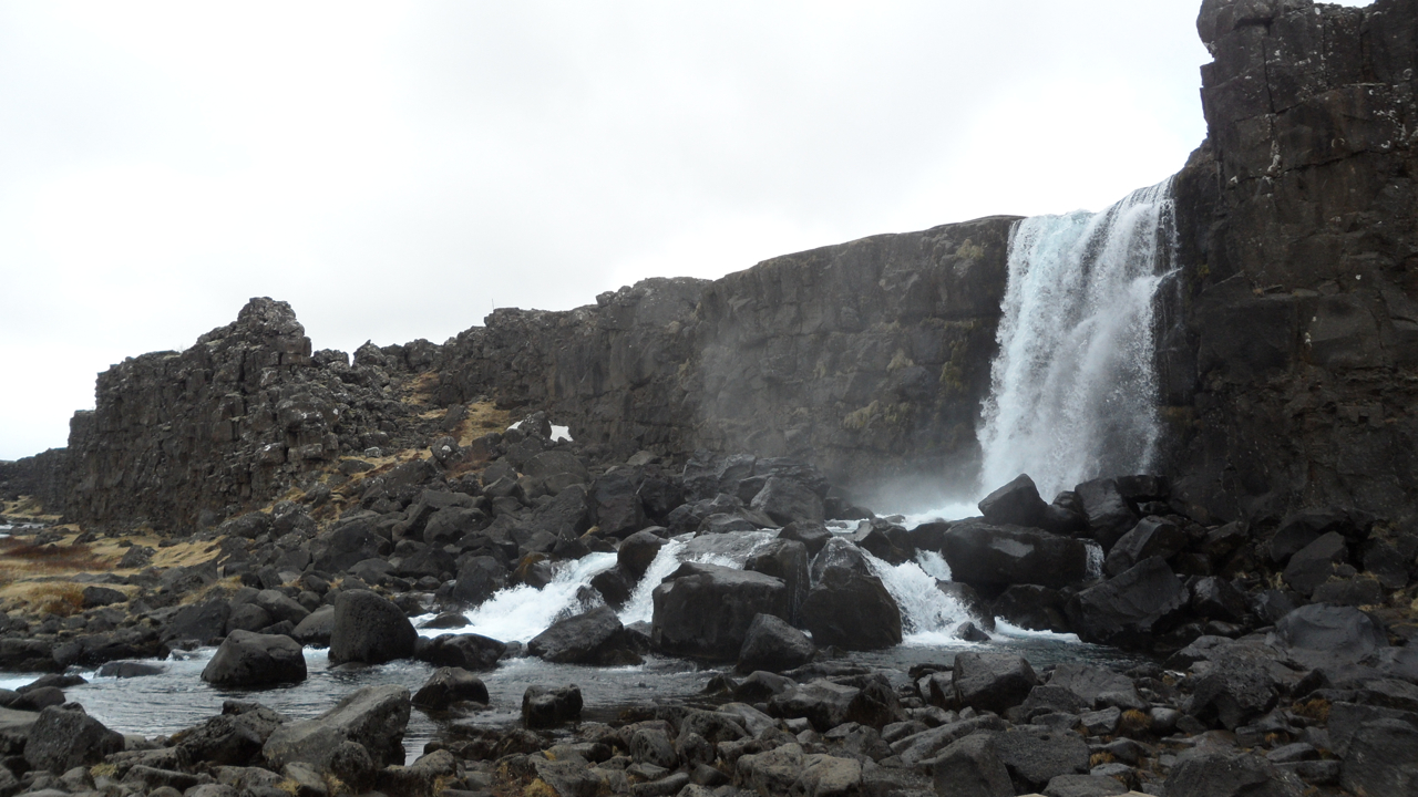 "Öxarárfoss waterfall (which is redundant; ""foss"" means ""waterfall"") at Þingvellir."