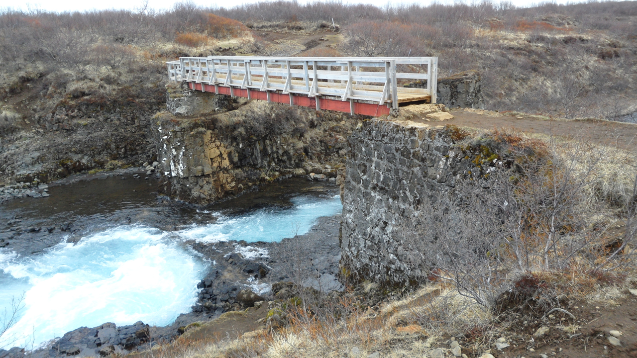 The stone foundation here is what's left of the bridge that Bruarfoss was apparently named for.
