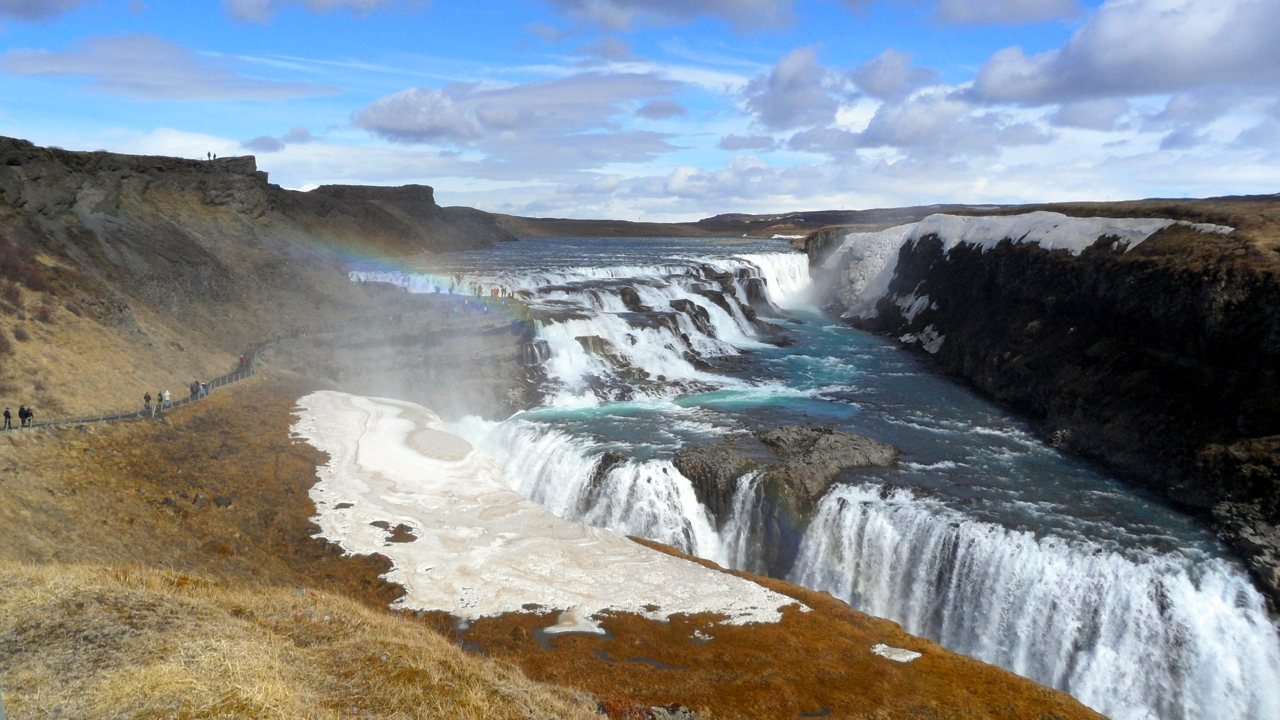 We made a quick trip back to Gulfoss, and the sun made a rainbow!