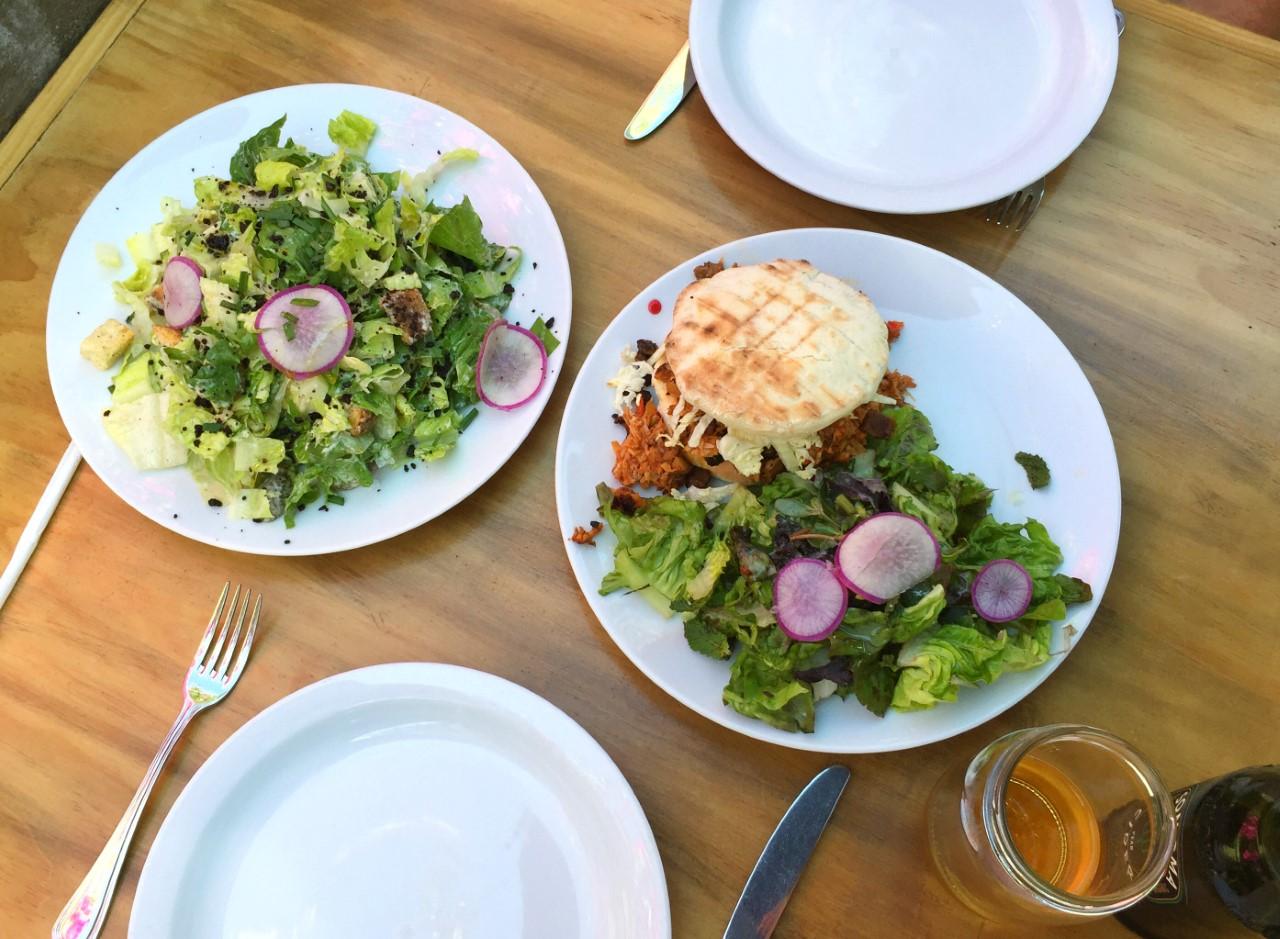 Vegan Cesar Salad (left) + Pulled Smoked Mushroom Sandwich (right)