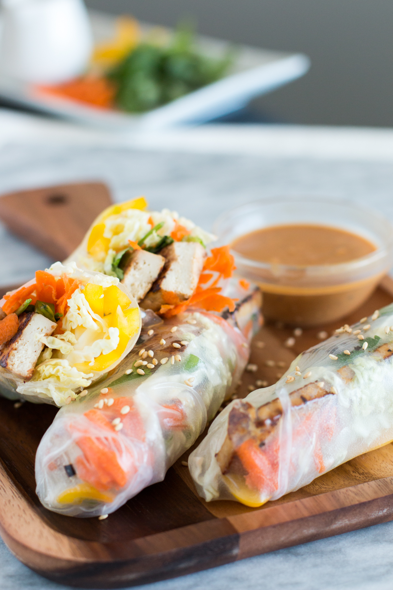 Tofu Spring Rolls  with iron-rich tofu and veggies providing Vitamin C