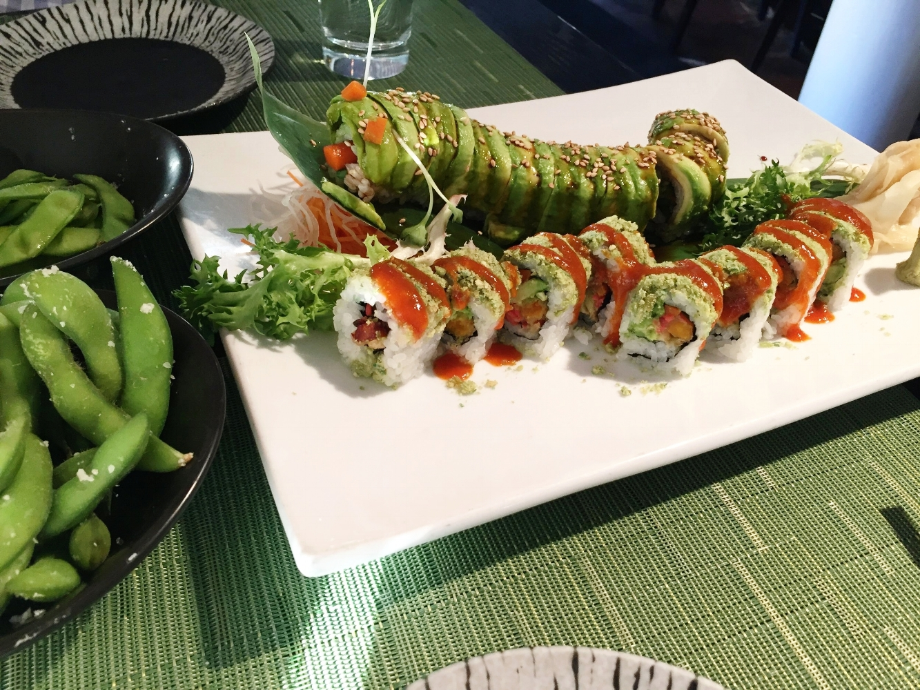 Veggie Grasshopper and Veggie Caterpillar Roll - Masu Sushi in NE Minneapolis