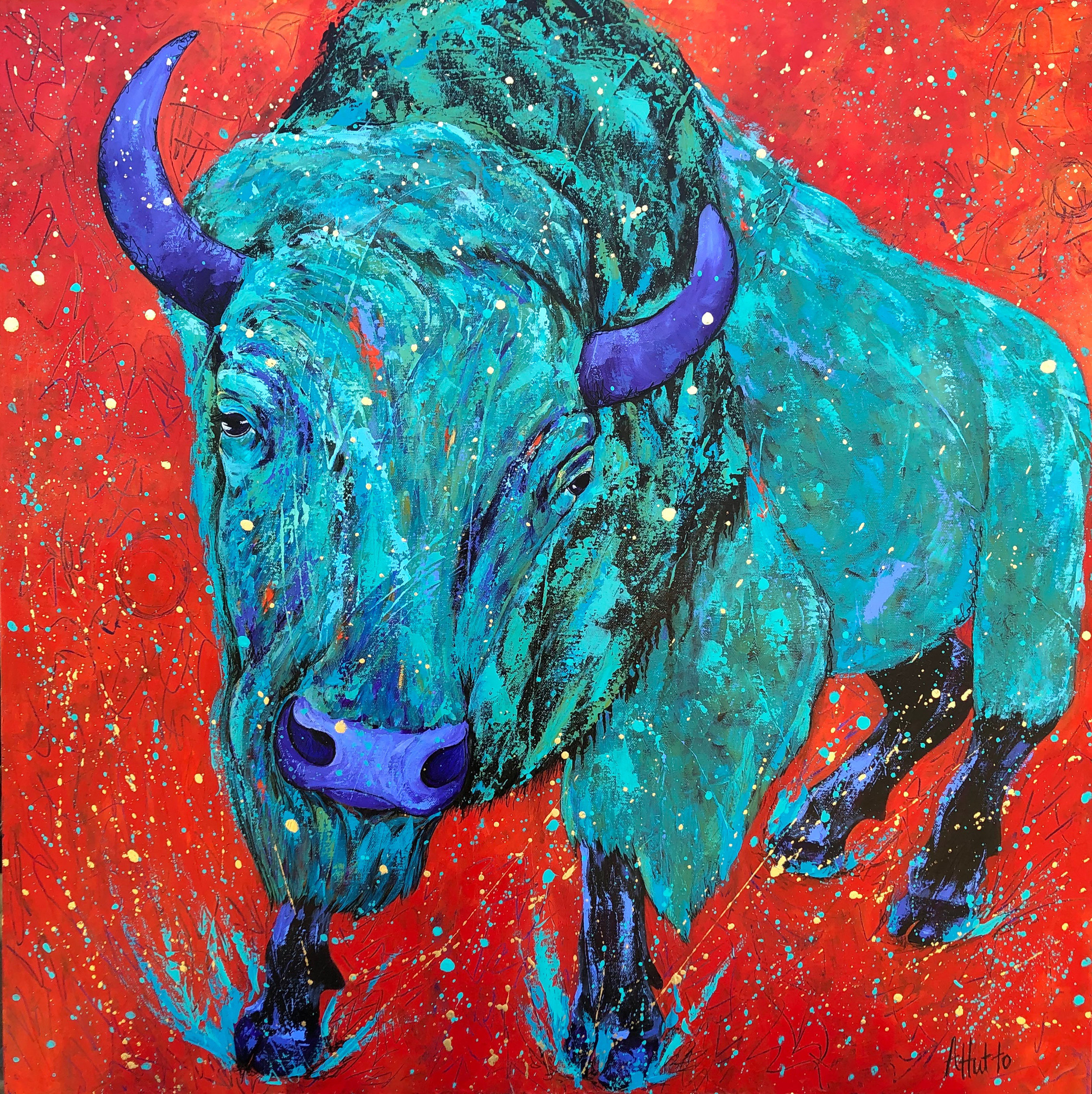 Bison on Red 5 30x30.jpg