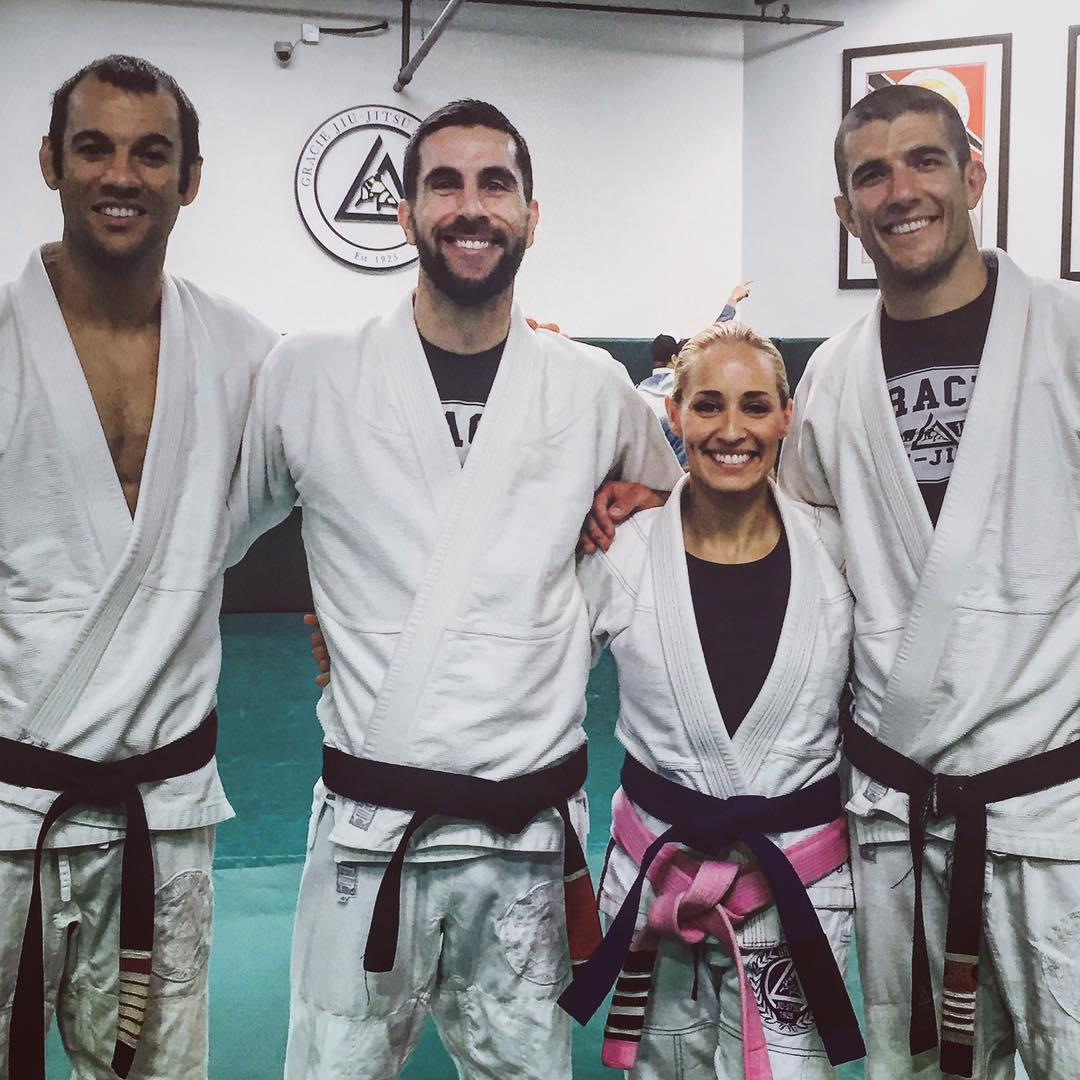 Instructors left to right:  Ryron Gracie ,  Chris Light ,  Angela , and  Rener Gracie  at  Headquarters .