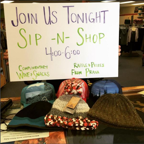 JOIN US!!! And, check out these cool hats from PrAna in our raffle!  #prana  #sipnshop