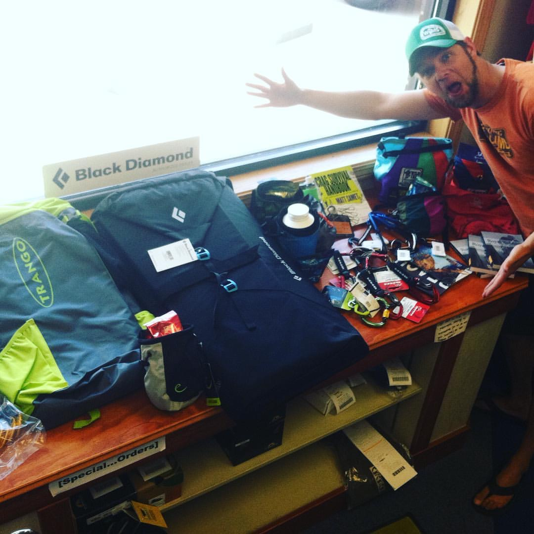 Jeremy is super STOKED about all this Swag for the upcoming BARF Raffle!