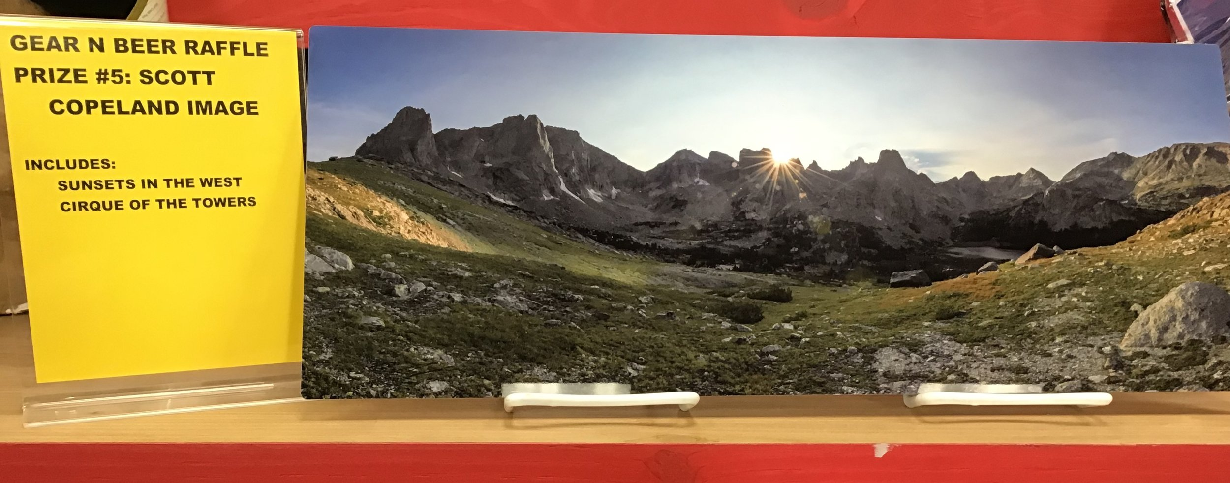 """RAFFLE PRIZE #5- Scott Copeland Print - """"Sunsets In The West Cirque of The Towers""""APPROXIMATE VALUE: $"""