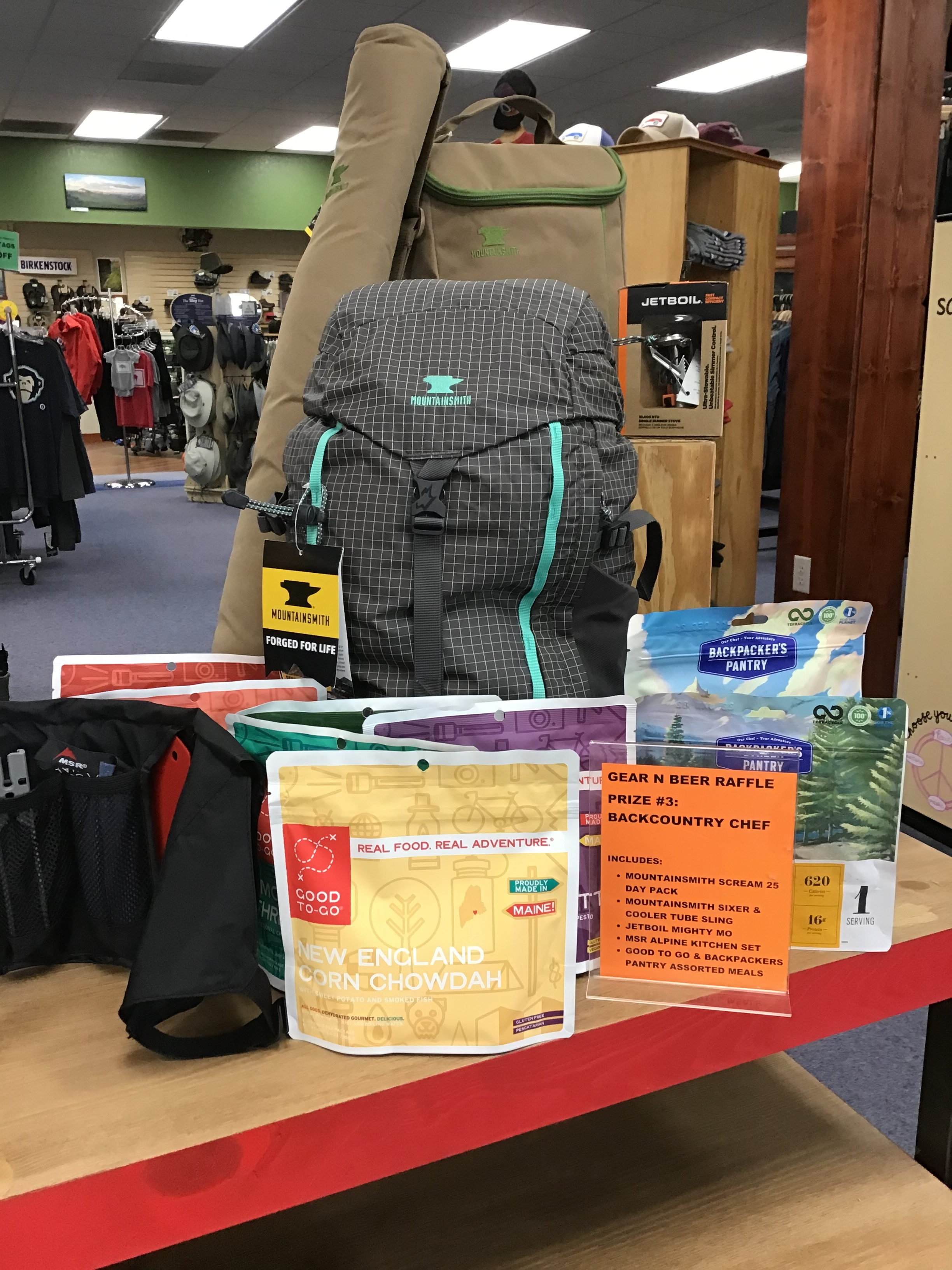 RAFFLE PRIZE #3- Backcountry Chef - Mountainsmith Scream 25 DaypackMountainsmith Sixer CoolerMountainsmith Cooler Tube SlingJetboil Mighty Mo Cook SystemMSR Alpine Kitchen SetGood To Go Backpacking MealsBackpacker Pantry Backpacking MealsAPPROXIMATE VALUE: $