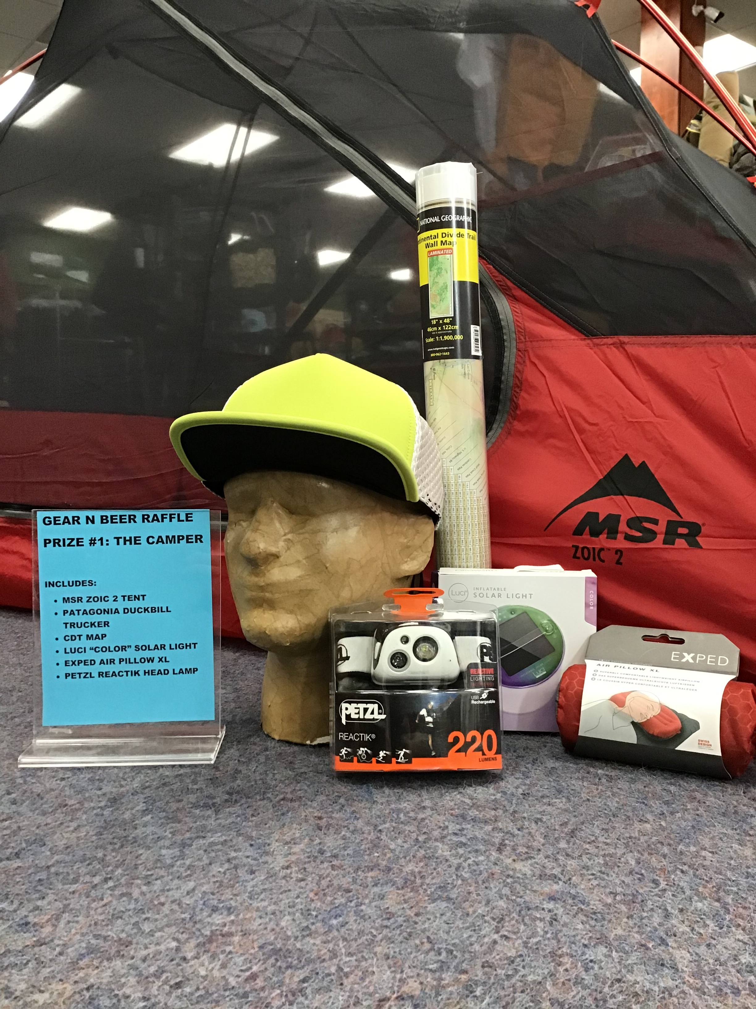 RAFFLE PRIZE #1- The Camper - MSR Zoic 2 Person TentPatagonia Duckbill Trucker CapNational Geographic CDT Wall MapLuci Color Solar LanternExped Air Pillow XLPetzl Reactik HeadlampPetzl Tikkina HeadlampAPPROXIMATE VALUE: $