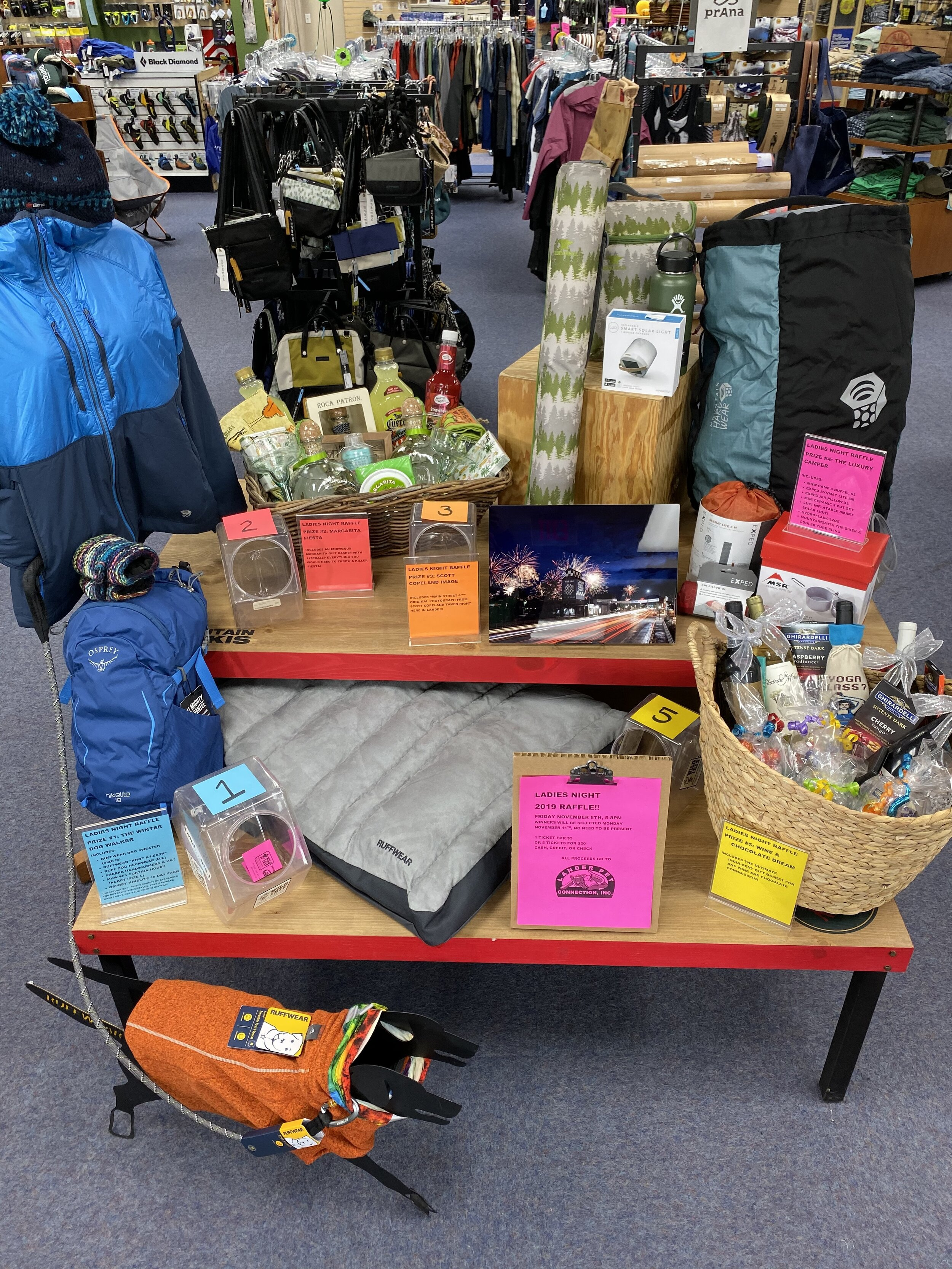 Ladies Night 2019 Prize Display - For a chance to win, buy raffle tickets here online, or in person at Wild Iris Mountain Sports. You do not need to be present to win, but you would miss out on the fun and games happening during Ladies Night on Nov. 8th from 5 - 8 p.m.
