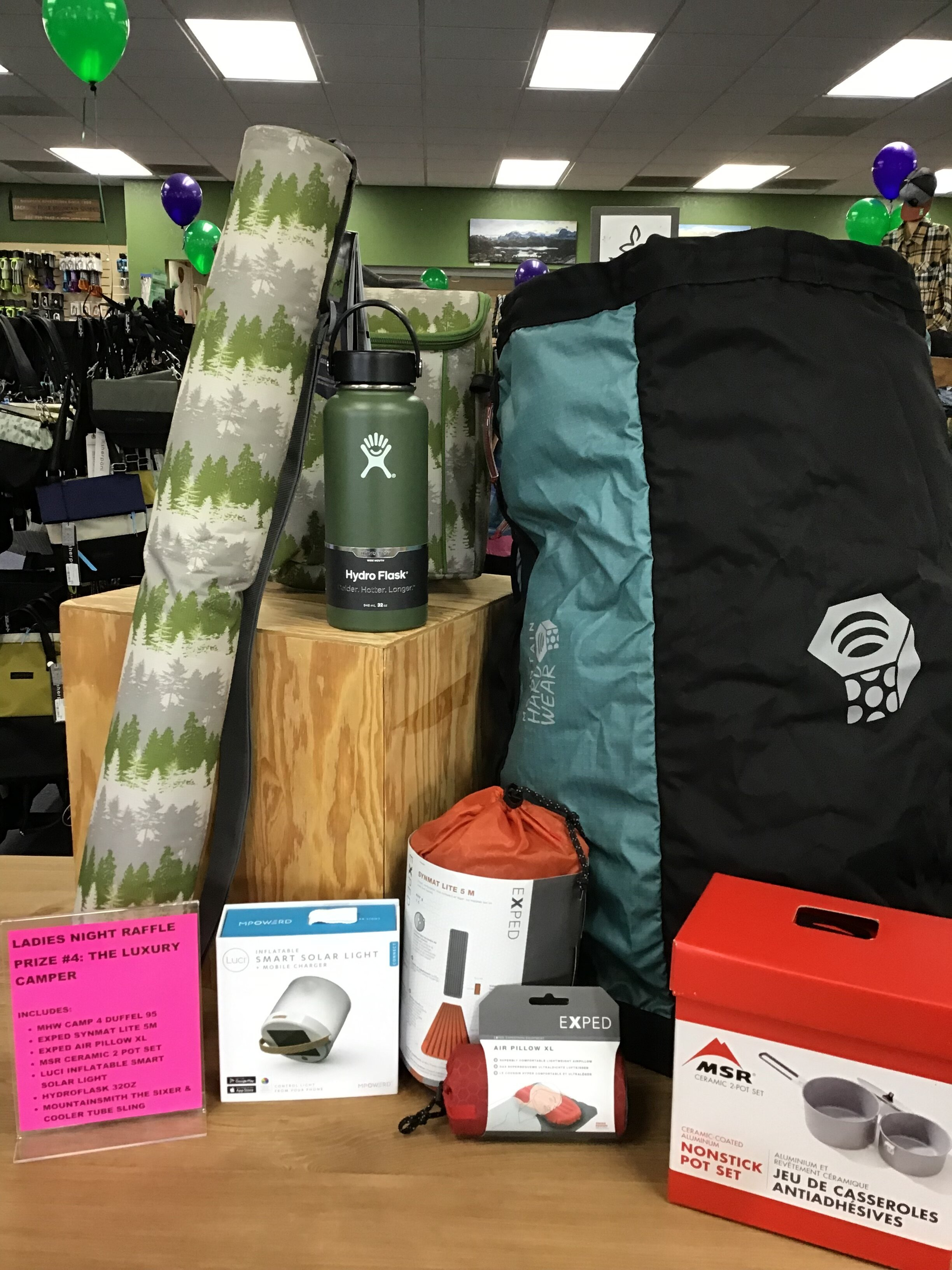 RAFFLE PRIZE #4 - The Luxury Camper - Mountain Hardwear Camp 4 Duffel 95Exped Synmat Lite 5MExped Air Pillow XLMSR Ceramic 2 Pot SetLuci Inflatable Smart Solar LanternHydroflask 32 oz Insulated Water BottleMountainsmith Sixer Cooler and Cooler Tube Sling