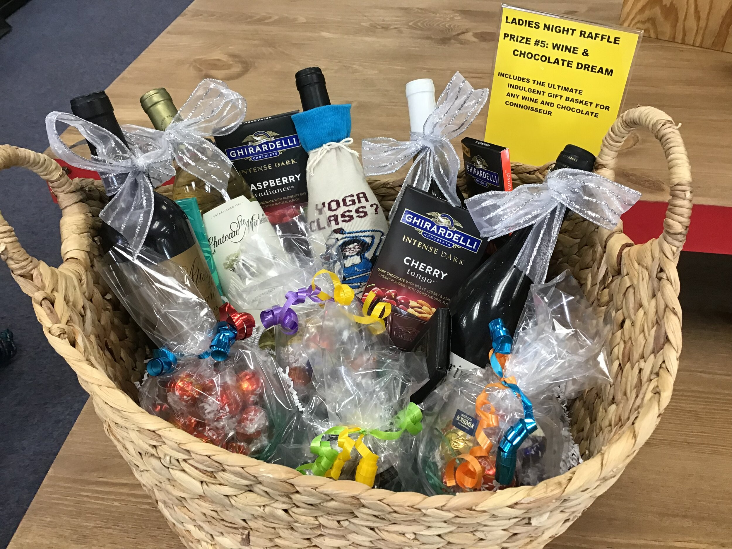 RAFFLE PRIZE #5 - Wine and Chocolate Dream - A wonderful basket for those who like to indulge in Wine and Chocolate* Must be 21 or older to win this prize* Winner must pick up in person with valid photo ID that matches the winning raffle ticket