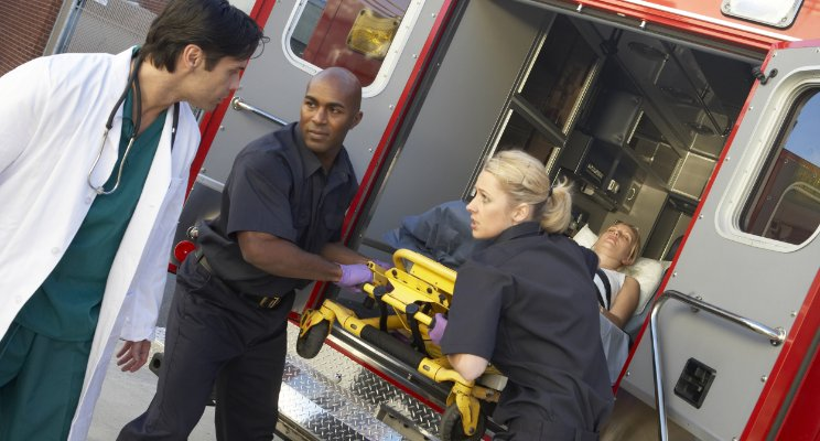 Patient exiting ambulance