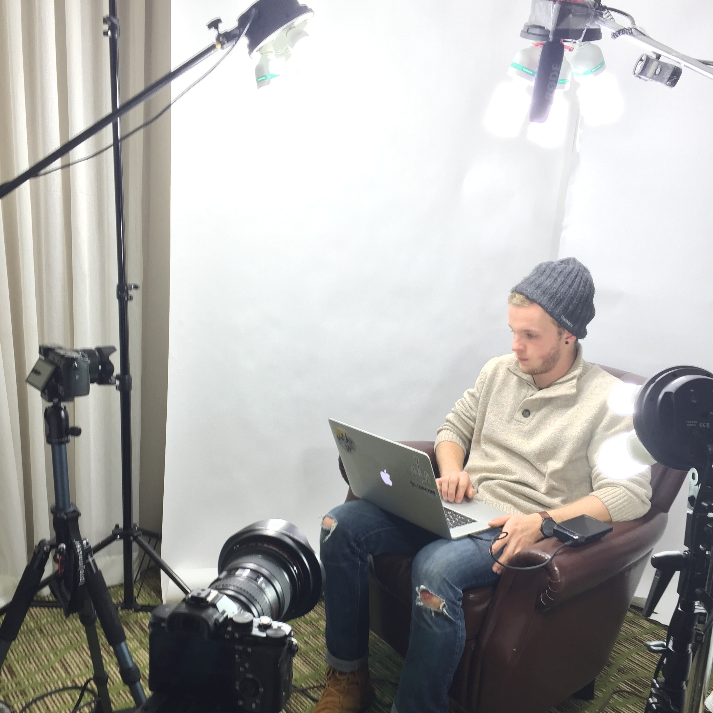 Our film director, Aidan, testing the light and getting some work done.