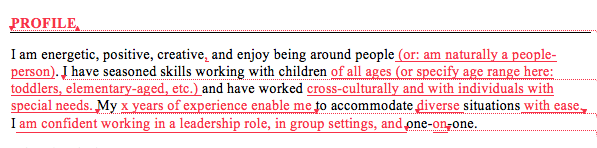 Edited resume text (balloon)