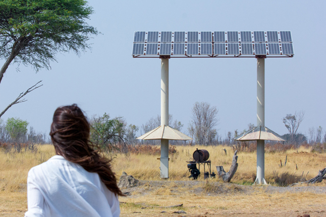 Solar pump in Hwange National Park.