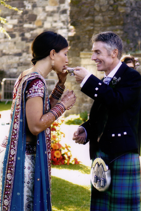 Bride and groom at Scottish Indian wedding