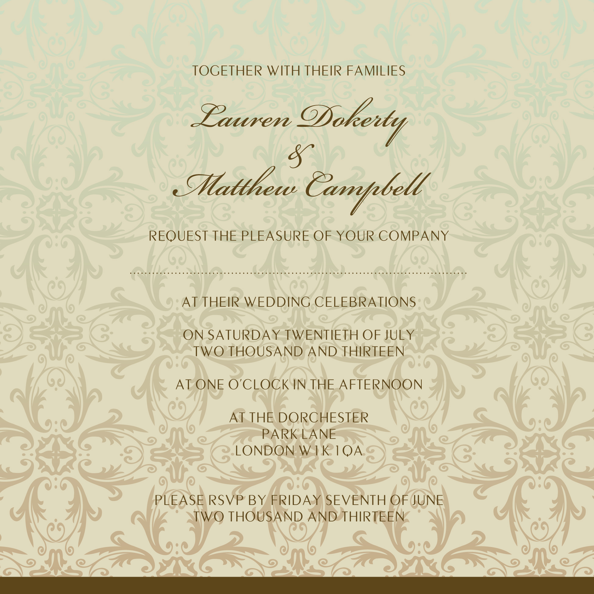 Ombré shaded green and brown wedding invitation