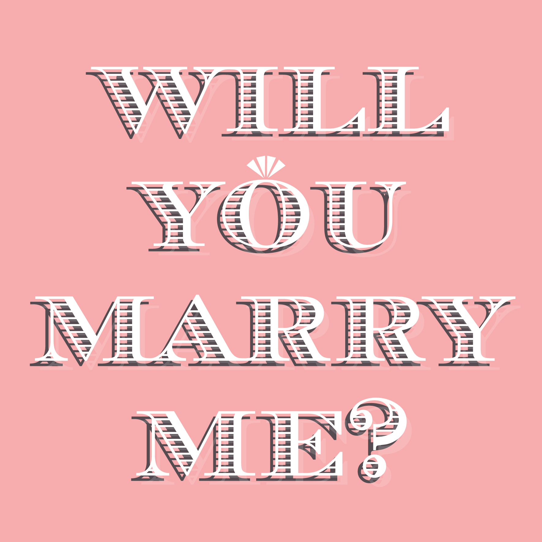 Will you marry me love and proposal card for Valentine's Day