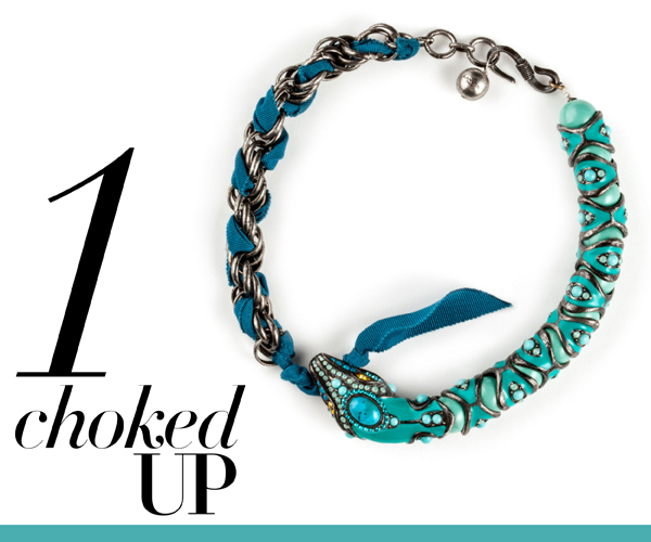 Lanvin turquoise snake choker featured in Vogue.com to celebrate the Chinese New Year, 2013 Year of the Snake, Snake charmer