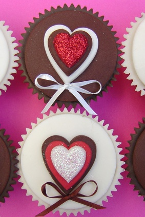 heart chocolate cupcakes for Valentine's. Annievrsaries or Weddings
