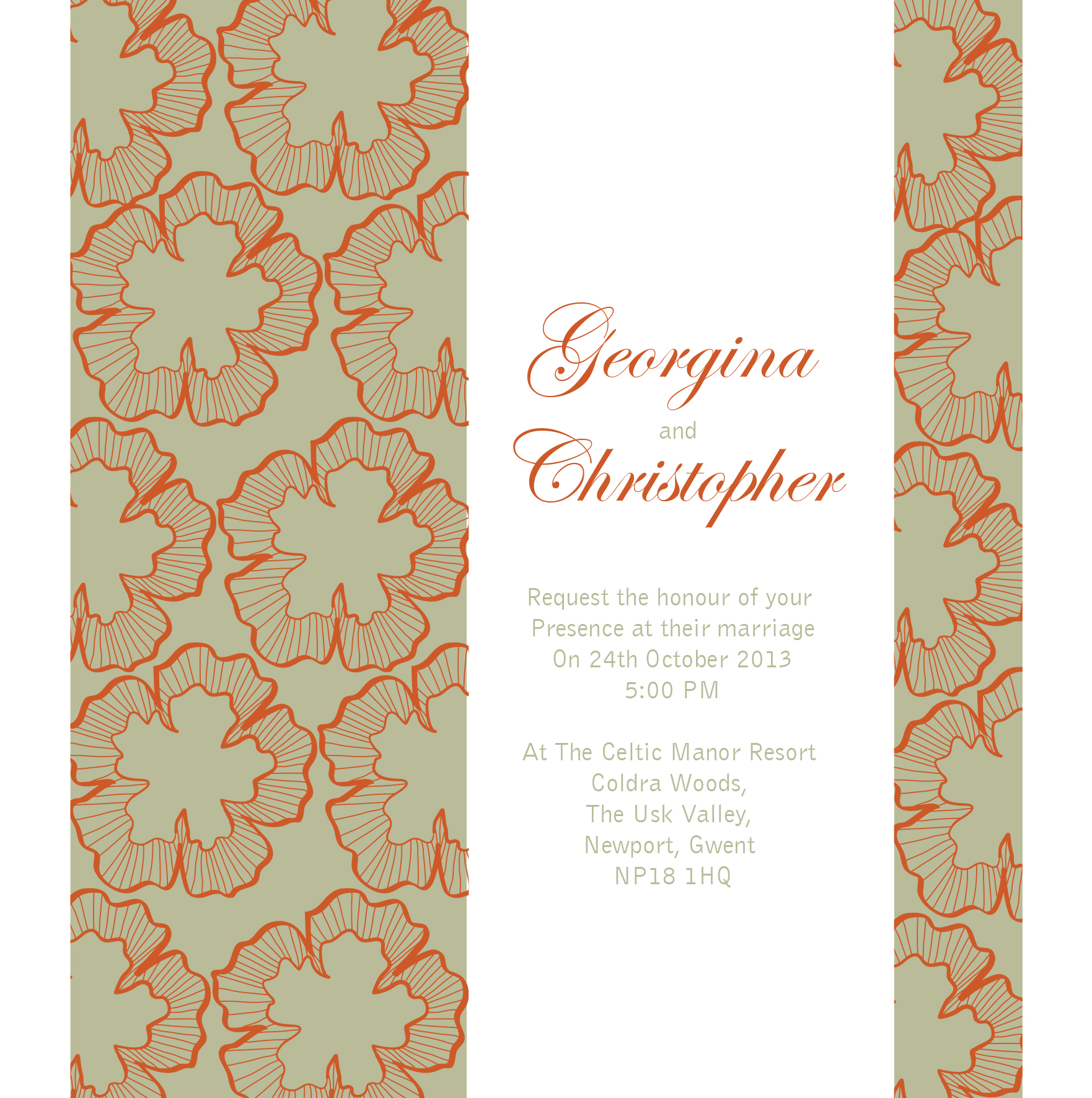 wedding invitation in burnt orange and yellow for Autumn