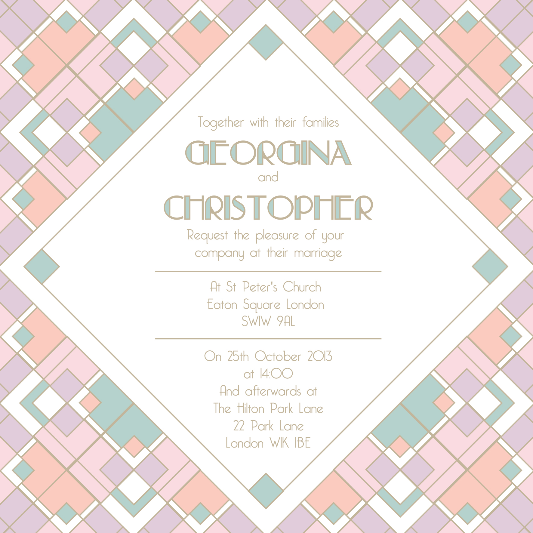 Colourful 1920s art deco wedding invitation, Autumn winter trends 2013 by Ananyacards.com